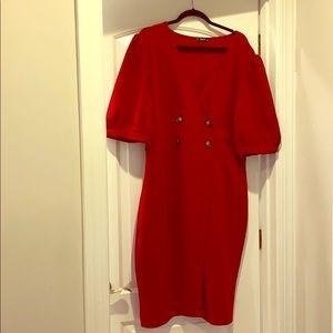Red w/ brown button dress